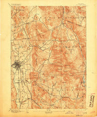 Rutland Vermont Historical topographic map, 1:62500 scale, 15 X 15 Minute, Year 1893