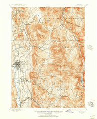 Rutland Vermont Historical topographic map, 1:62500 scale, 15 X 15 Minute, Year 1891