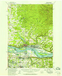 Camas Washington Historical topographic map, 1:62500 scale, 15 X 15 Minute, Year 1954