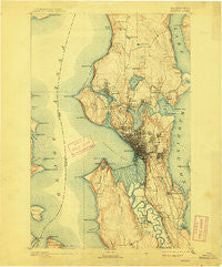 Seattle Washington Historical topographic map, 1:62500 scale, 15 X 15 Minute, Year 1894