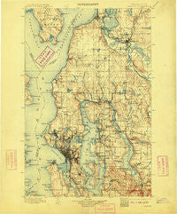 Seattle Washington Historical topographic map, 1:125000 scale, 30 X 30 Minute, Year 1897