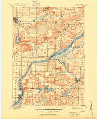 Baraboo Wisconsin Historical topographic map, 1:62500 scale, 15 X 15 Minute, Year 1895