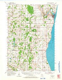 Kewaunee Wisconsin Historical topographic map, 1:62500 scale, 15 X 15 Minute, Year 1954