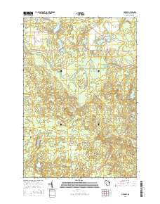 Pickerel Wisconsin Current topographic map, 1:24000 scale, 7.5 X 7.5 Minute, Year 2015