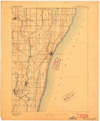 Port Washington Wisconsin Historical topographic map, 1:62500 scale, 15 X 15 Minute, Year 1892