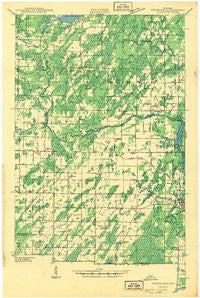 Porterfield Wisconsin Historical topographic map, 1:48000 scale, 15 X 15 Minute, Year 1942