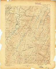 Beverly West Virginia Historical topographic map, 1:125000 scale, 30 X 30 Minute, Year 1889
