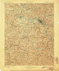 Charleston West Virginia Historical topographic map, 1:125000 scale, 30 X 30 Minute, Year 1899