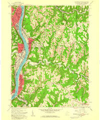 Steubenville East Ohio Historical topographic map, 1:24000 scale, 7.5 X 7.5 Minute, Year 1958