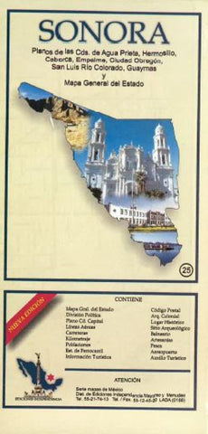 Buy map Sonora, Mexico, State and Major Cities Map by Ediciones Independencia