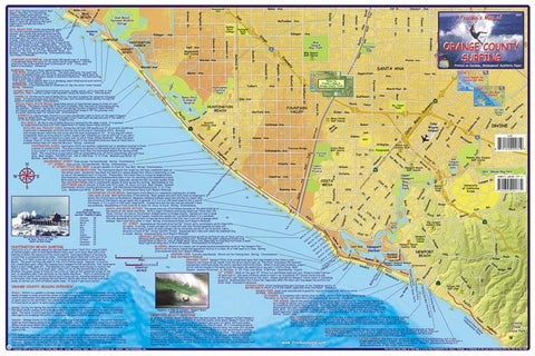 Buy map California Map, Orange County Surfing, laminated, 2007 by Frankos Maps Ltd.