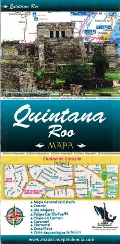 Buy map Quintana Roo, Mexico, State and Major Cities Map by Ediciones Independencia