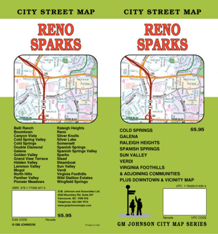 Buy map Reno and Sparks, Nevada by GM Johnson