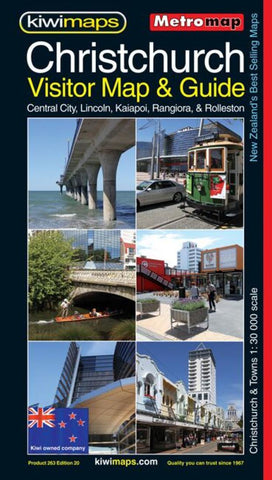 Buy map Christchurch, New Zealand, Visitor and Tourist Metromap by Kiwi Maps