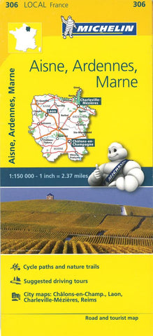 Buy map Aisne, Ardennes, Marne, France Road and Tourist Map by Michelin Travel Partner