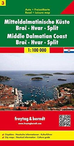 Buy map Croatia, Middle Dalmatian Coast, Brac, Hvar and Split by Freytag-Berndt und Artaria