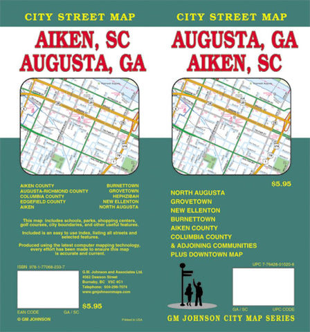 Buy map Augusta, Georgia and Aiken, South Carolina by GM Johnson
