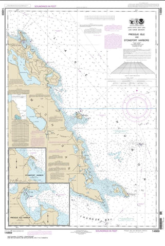 Buy map Thunder Bay Island to Presque Isle; Stoneport Harbor; Resque Isle Harbor (14869-27) by NOAA