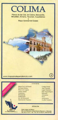 Buy map Colima, Mexico, State and Major Cities Map by Ediciones Independencia