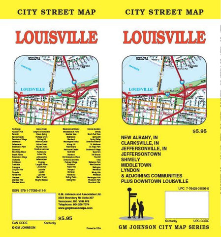 Buy map Louisville, Kentucky and New Albany, Indiana by GM Johnson