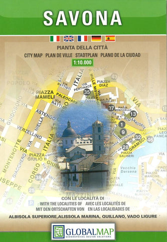 Buy map Savona, Italy by Litografia Artistica Cartografica