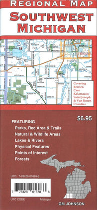 Buy map Southwest Michigan Back Roads by GM Johnson