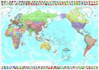 Buy map World and Flags, Pacific-Centered, Laminated by Hema Maps