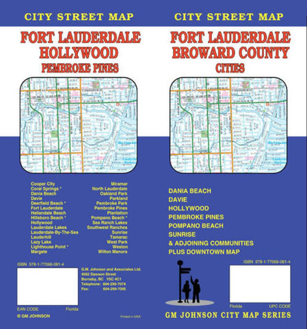 Buy map Fort Lauderdale and Broward County Cities, Florida by GM Johnson