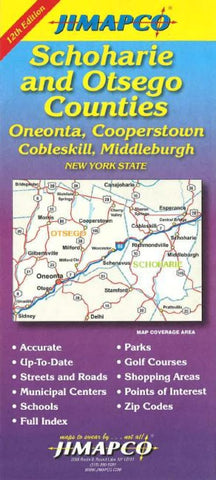 Buy map Schoharie and Otsego Counties, New York by Jimapco