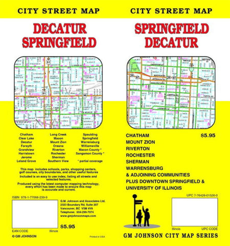 Buy map Springfield and Decatur, Illinois by GM Johnson