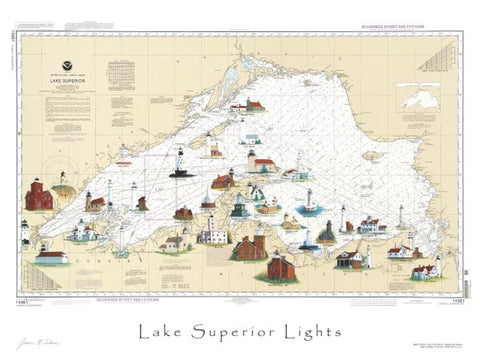 Buy map Lake Superior, Lighthouse Map by Avery Color Studios