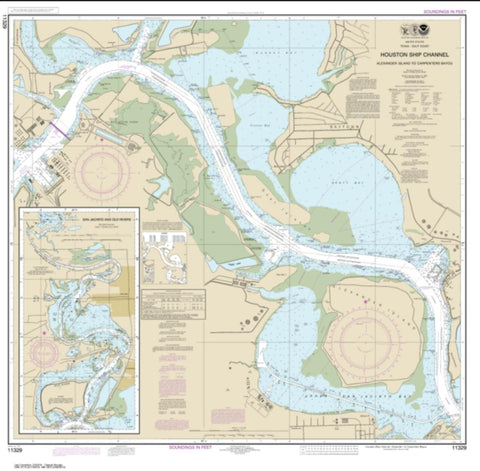 Buy map Houston Ship Channel Alexander Island to Carpenters Bayou; San Jacinto and Old Rivers (11329-39) by NOAA