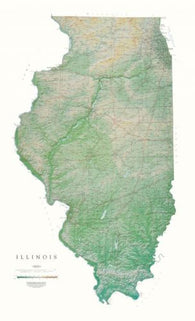 Buy map Illinois, Physical Wall Map by Raven Maps