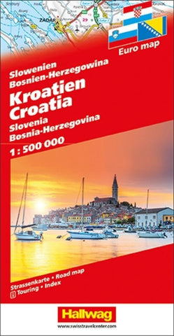 Buy map Croatia, Slovenia, Bosnia-Herzegovina Road Map by Hallwag
