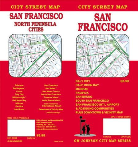 Buy map San Francisco, California, North Peninsula Cities by GM Johnson