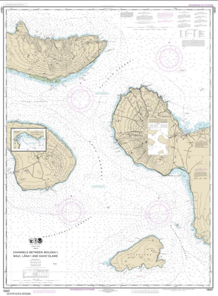 Buy map Channels between Molokai, Maui, Lana'i and Kaho'olawe; Manele Bay (19347-19) by NOAA