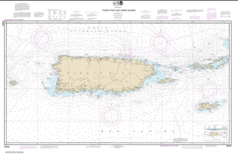 Buy map Puerto Rico and Virgin Islands (25640-45) by NOAA