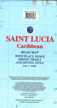 Buy map Saint Lucia, Caribbean, Road map by Kasprowski Publisher