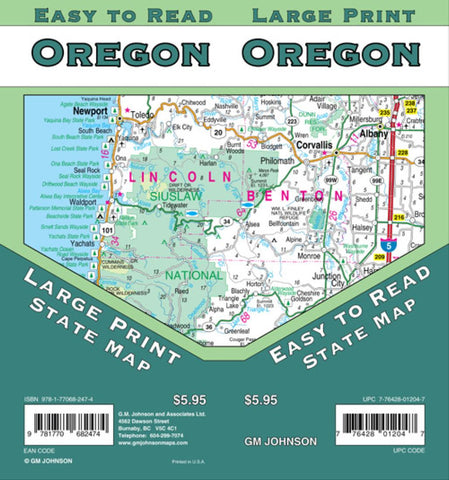 Buy map Oregon, large print by GM Johnson