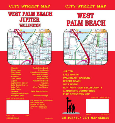 Buy map West Palm Beach, Florida by GM Johnson