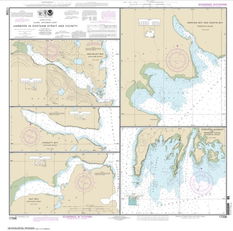 Buy map Harbors in Chatham Strait and vicinity Gut Bay, Chatham Strait; Hoggatt Bay, Chatham Strait; Red Bluff Bay, Chatham Strait; Herring Bay and Chapin Bay, Frederick Sound;Surprise Hbr, and Murder Cove, Frederick Sound (17336-10) by NOAA