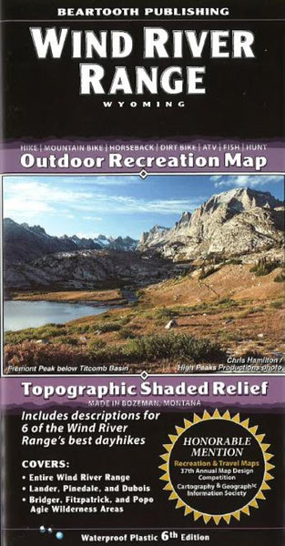 Buy map Wind River Range, Wyoming by Beartooth Publishing