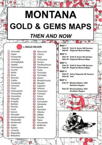 Buy map Idaho, Gold and Gems, 5-Map Set, Reported Occurrences by Northwest Distributors