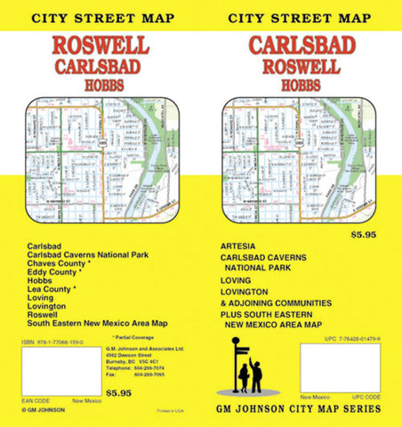 Buy map Carlsbad, Roswell and Hobbs, New Mexico by GM Johnson