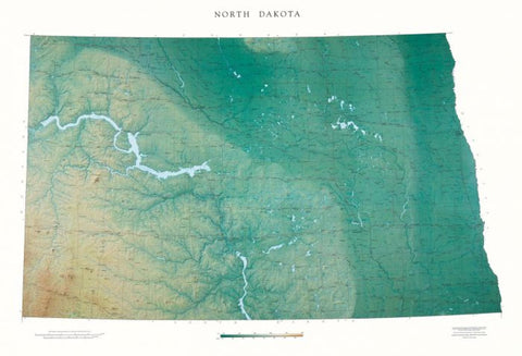 Buy map North Dakota, Physical, Laminated Wall Map by Raven Maps