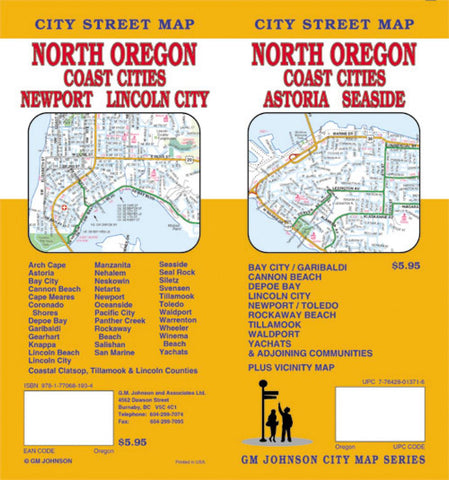 Buy map Oregon, North with Coast Cities, Astoria and Seaside by GM Johnson