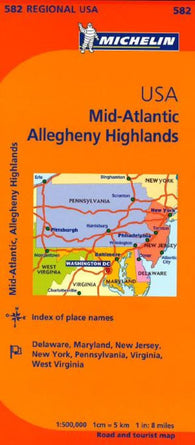 Buy map United States, Mid-Atlantic and Allegheny Highlands (582) by Michelin Maps and Guides