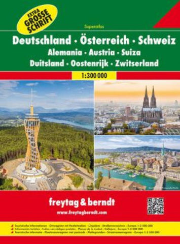 Buy map Germany, Austria and Switzerland, Atlas (Extra Large Print) by Freytag-Berndt und Artaria