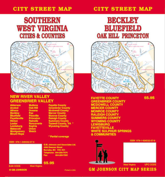 Buy map Beckley, Bluefield, Oak Hill and Princeton, West Virginia by GM Johnson