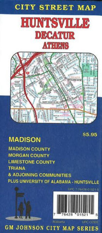 Buy map Huntsville, Decatur and Athens, Alabama by GM Johnson